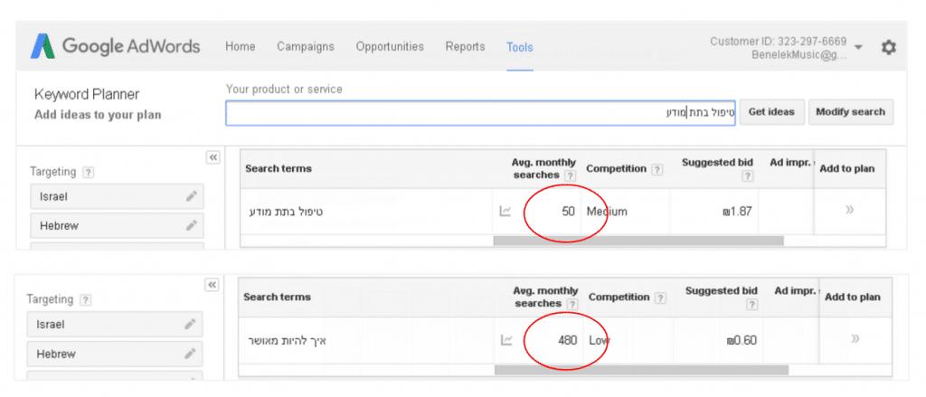 השוואת מוצרים בחיפוש של גוגל