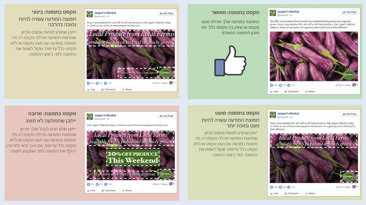כלל 20% טקסט על תמונה בפייסבוק