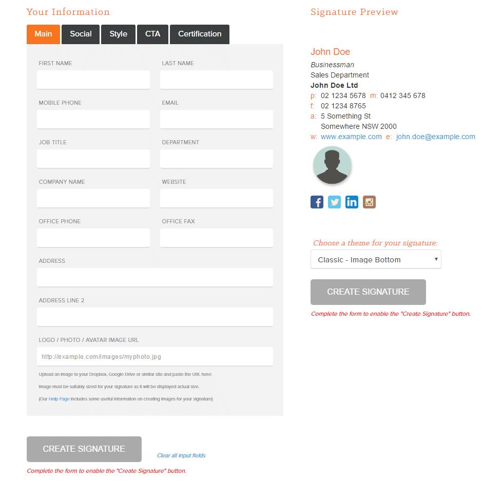 עיצוב חתימה למייל בחינם